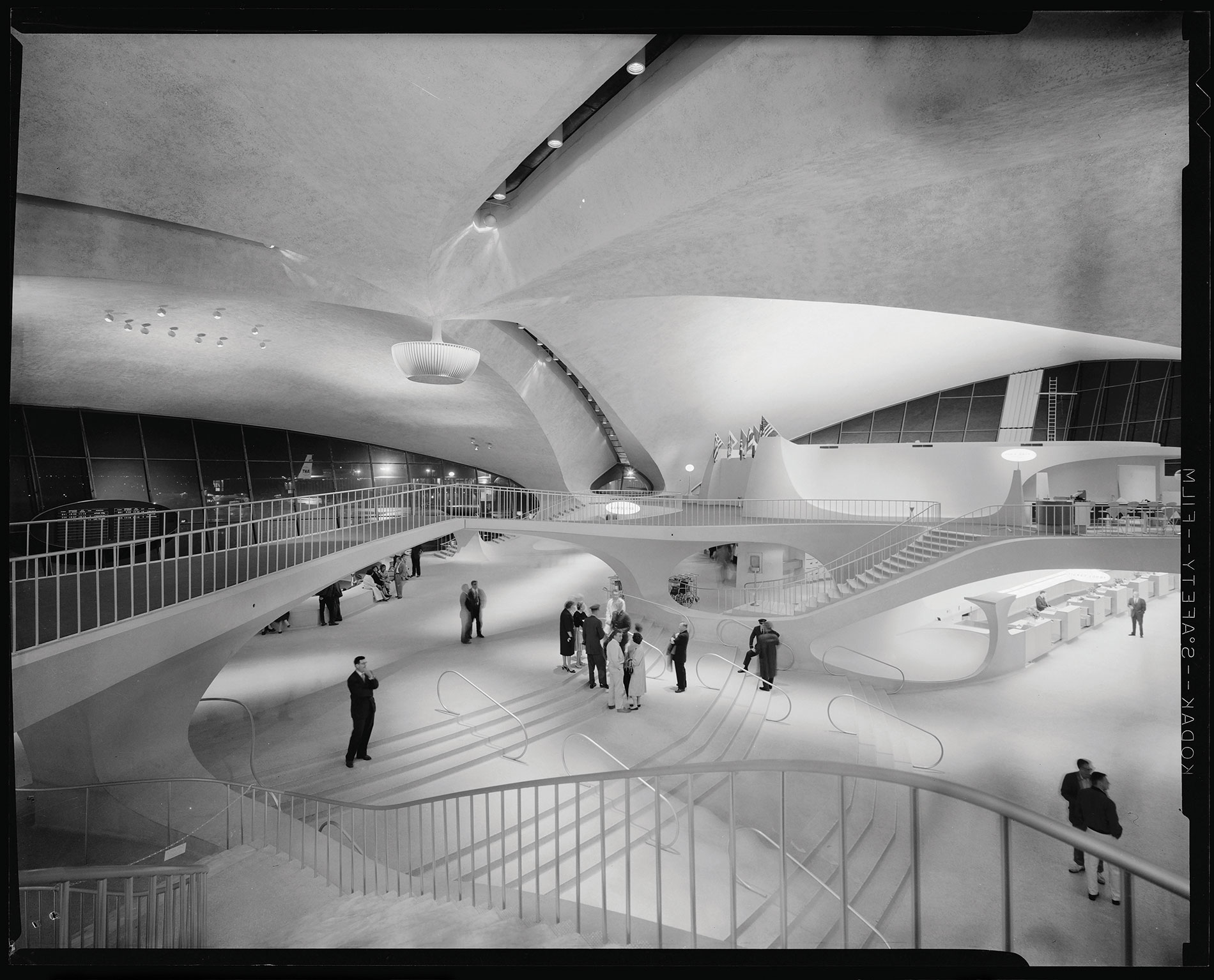 Interior of the TWA Terminal in 1956. Front of TWA Hotel. Photo Credit: Berlin Rosen / Balthazar Korab