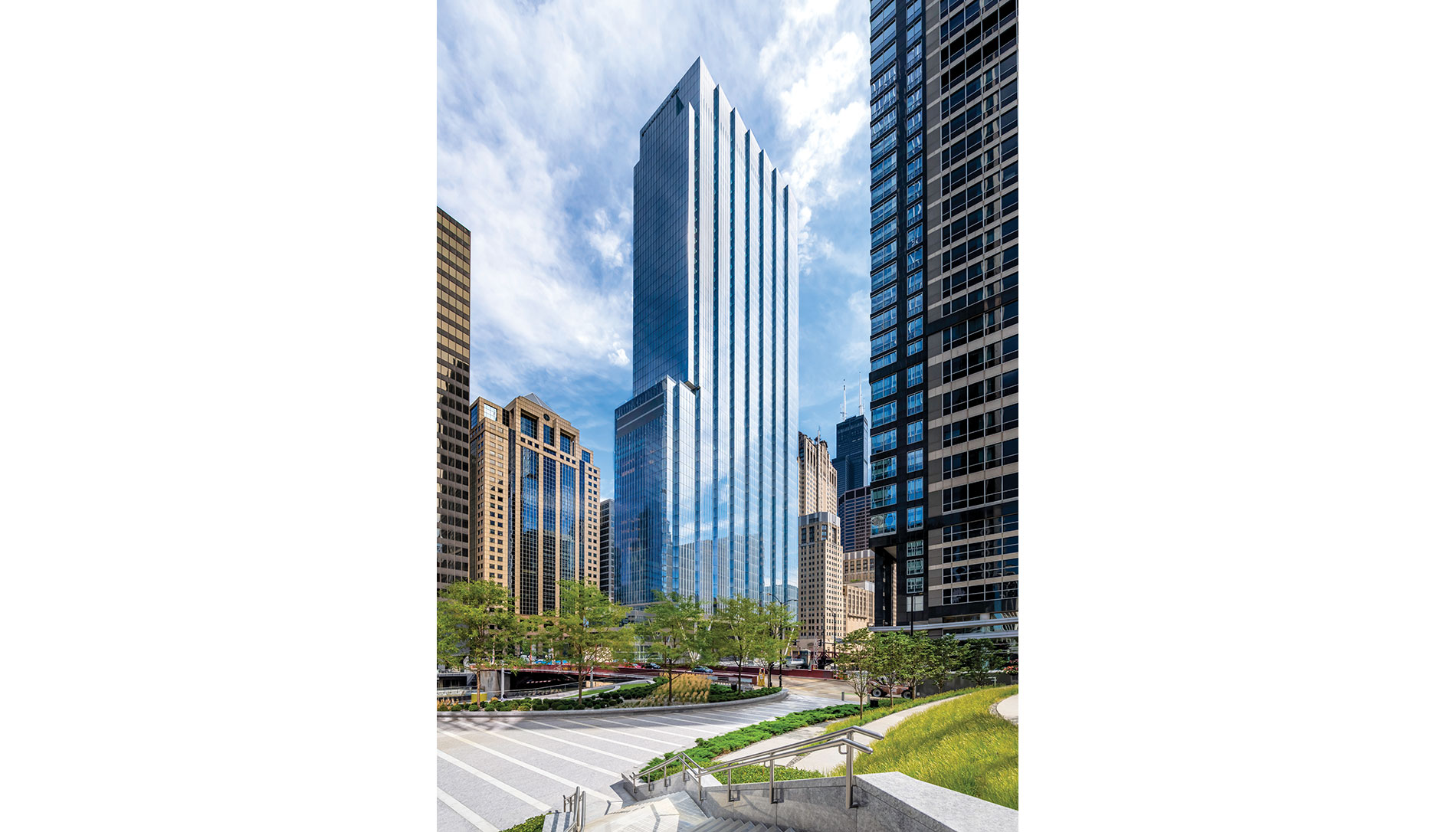 Chicago's 110 N. Wacker office building earned WiredScore's Platinum Certification, in part for its ability to handle 5G for interested clients. | Nick Ulivieri Photography / Riverside Investment & Development