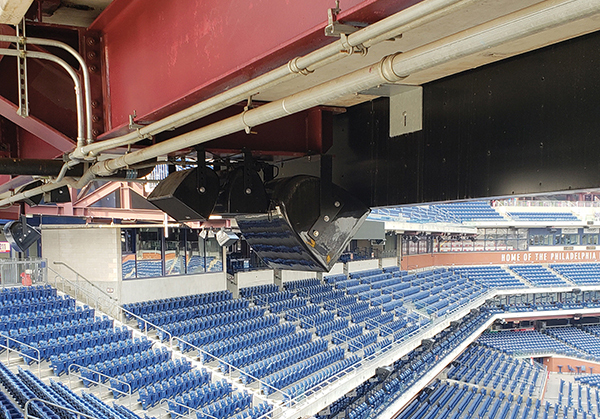 Sound systems typically last a decade, and the speakers at Citizens Bank Park—installed in 2004—had well outlived their predicted life span. New speakers were installed, but the existing brackets were repainted and reused. Photo courtesy Pat Dunbar / M. Gitlin Co.