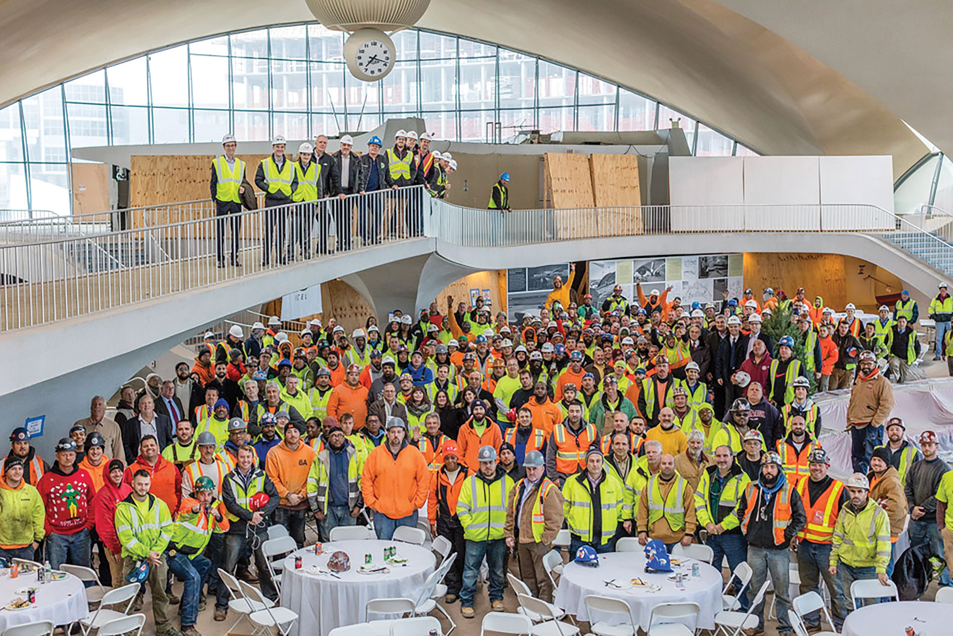 Construction workers and partners at the TWA Hotel Topping Out ceremony. Photo Credit: Berlin Rosen / Balthazar Korab