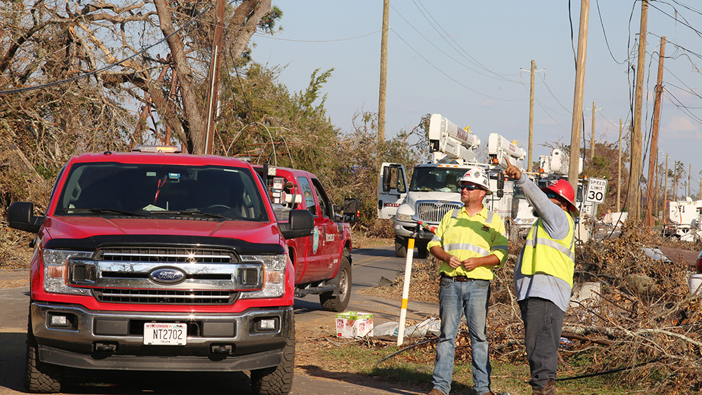 Michels Power crews inspect damage caused by Hurricane Michael and plan for repair work. Photos by Olin Akisoglu.