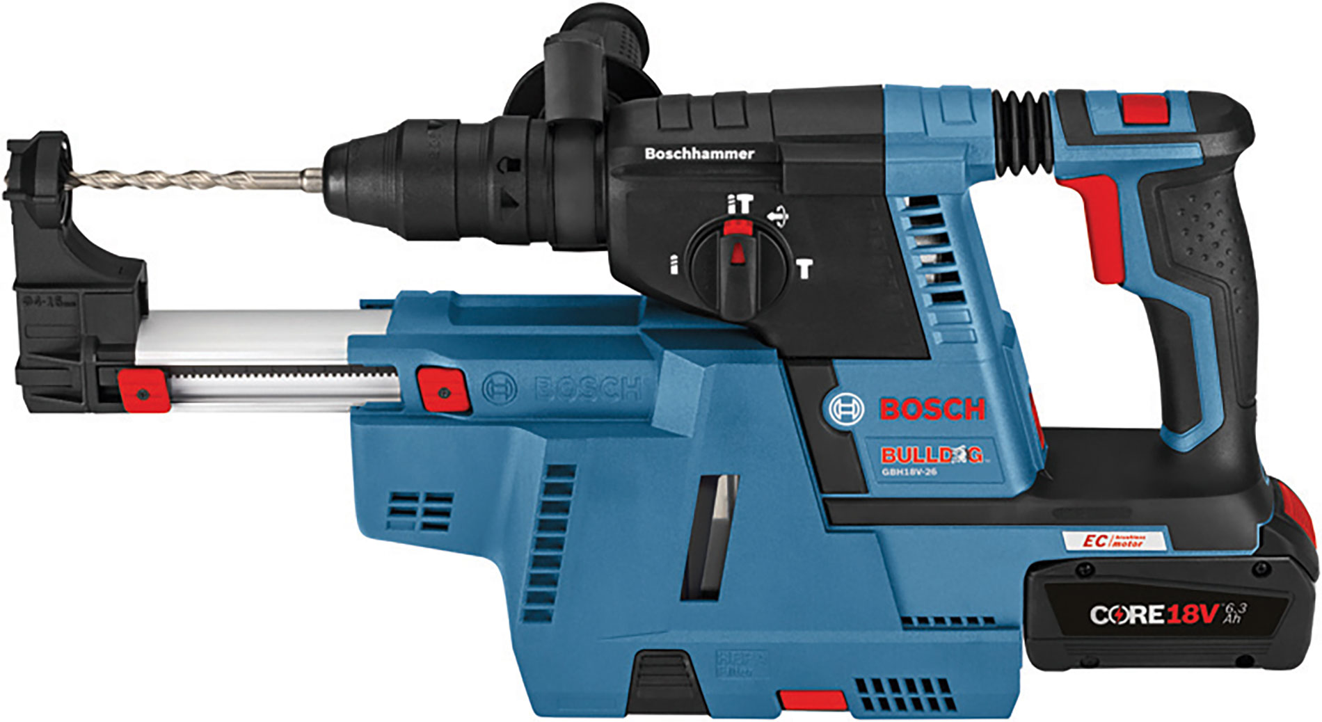 Bosch GDE18V-16 dust collection attachment for rotary hammer is a self-contained unit with HEPA filter.  www.boschtools.com