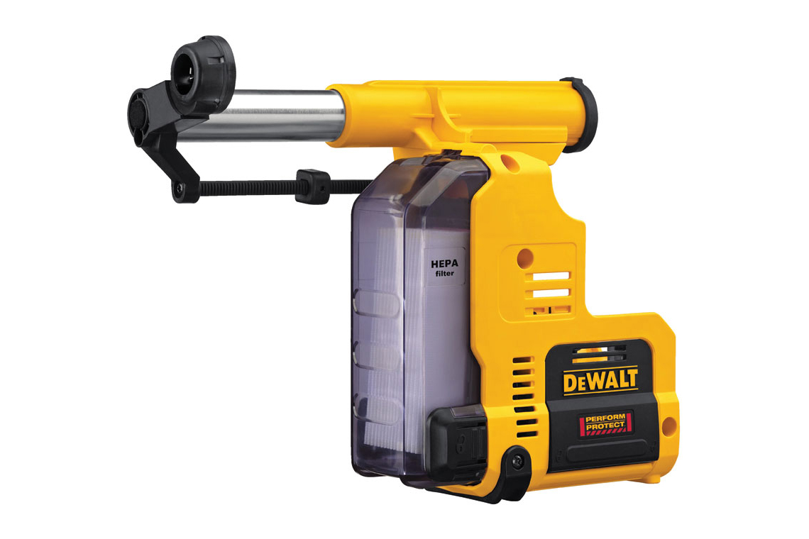 DeWalt D25303DH dust-extraction system connects to the brushless 20V DCH273P2 1-inch rotary hammer
