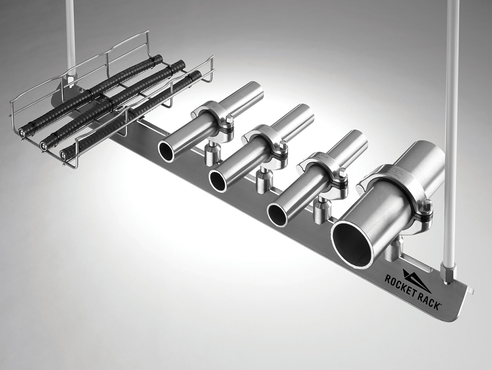 Rocket Rack's patented sanitary support system for conduit, process pipe and cable tray is designed for the food and beverage, pharmaceutical, consumer products and cosmetics industries.