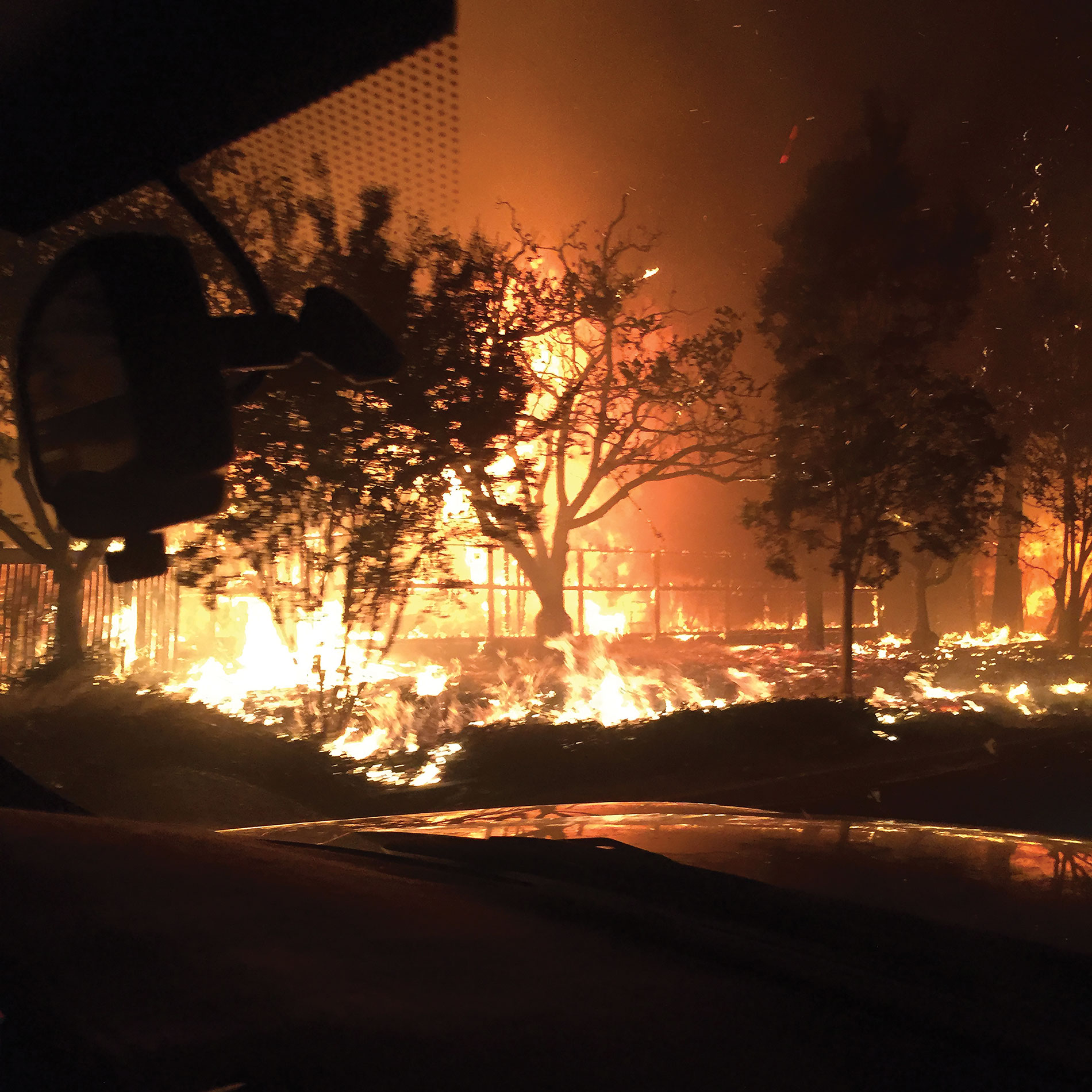 The Northern California wildfires blazed a path of destruction through the Sonoma County town of Kenwood last October. Credit: Joe Lunardi Electric Co.