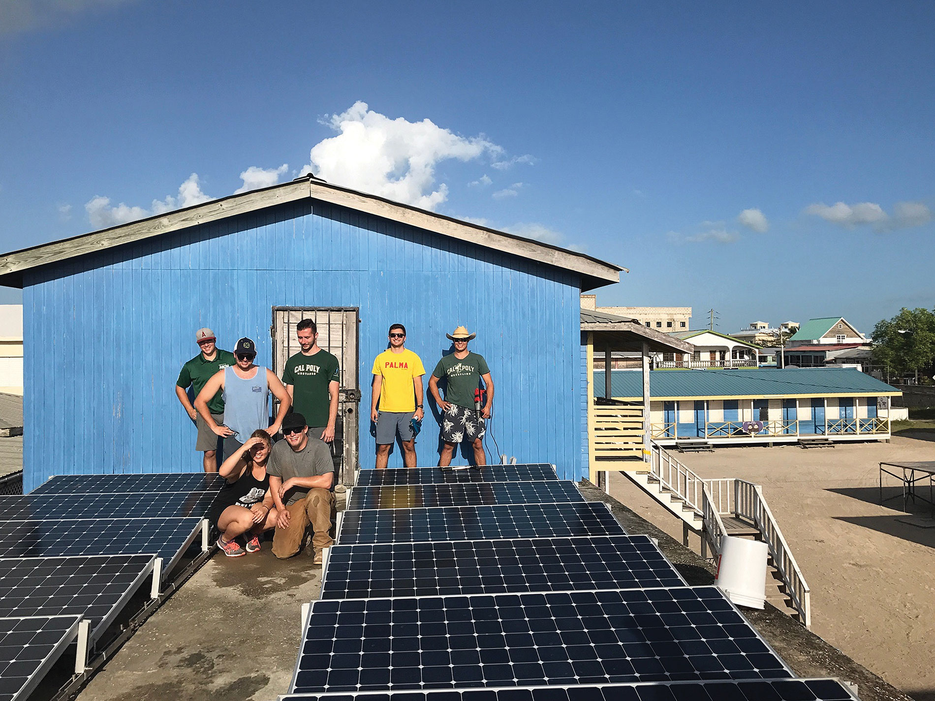 Through ELECTRI International, a team of students from California Polytechnic State University San Luis Obispo recently installed a complete photovoltaic system at the San Pedro Roman Catholic School in San Pedro, Belize. Photo Credit: Electri International