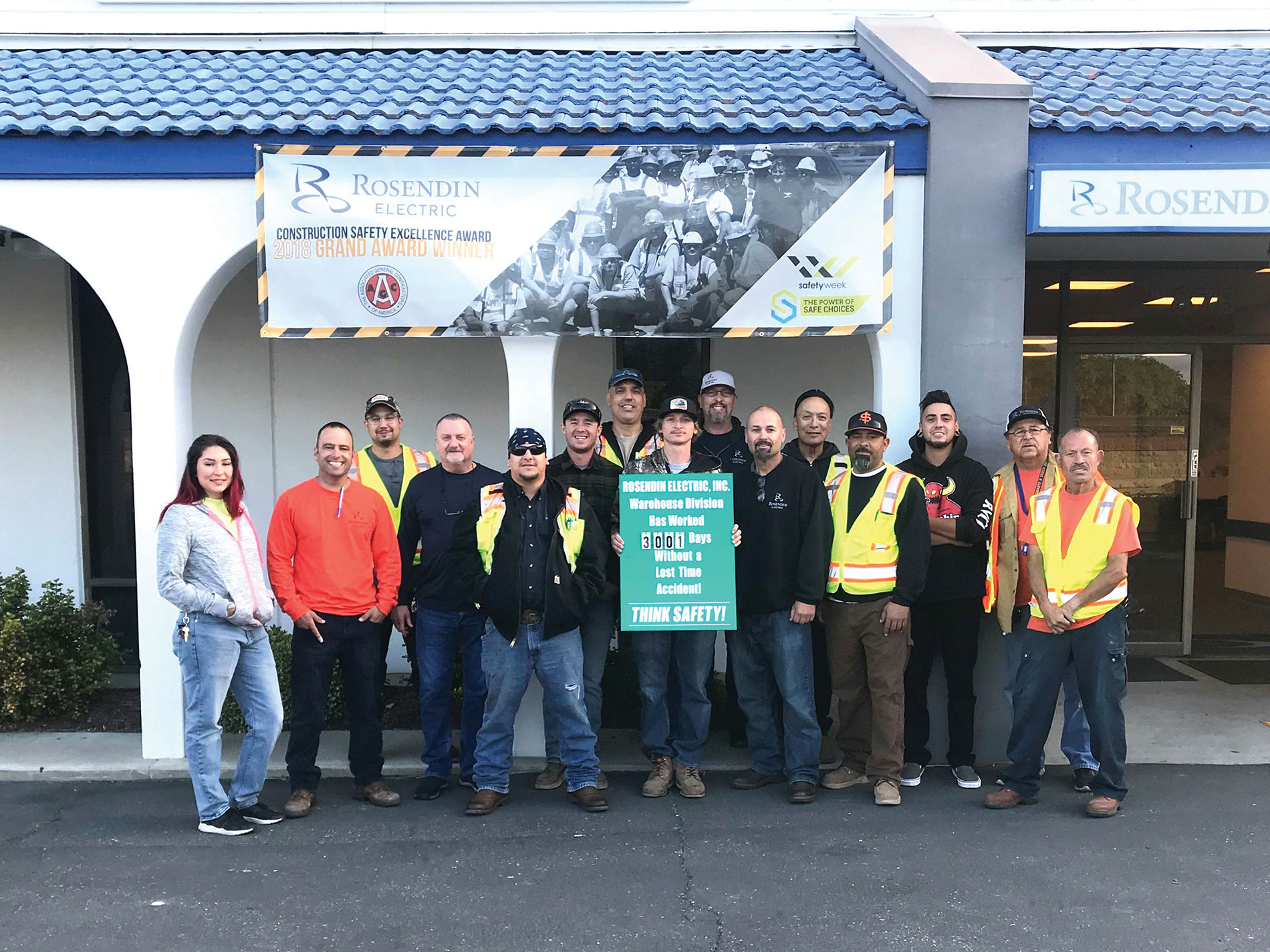 In May 2018, Rosendin's San Jose, Calif., Warehouse Division  was recognized for working 3,001 days without a lost-time incident
