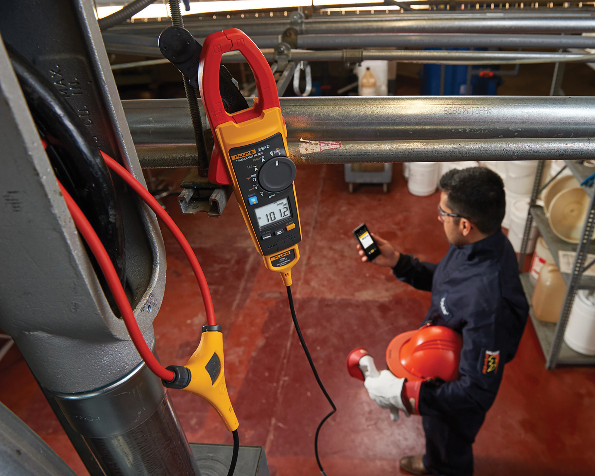 Fluke 376 FC true RMS clamp meter connects to smart phones with Fluke Connect.  www.fluke.com