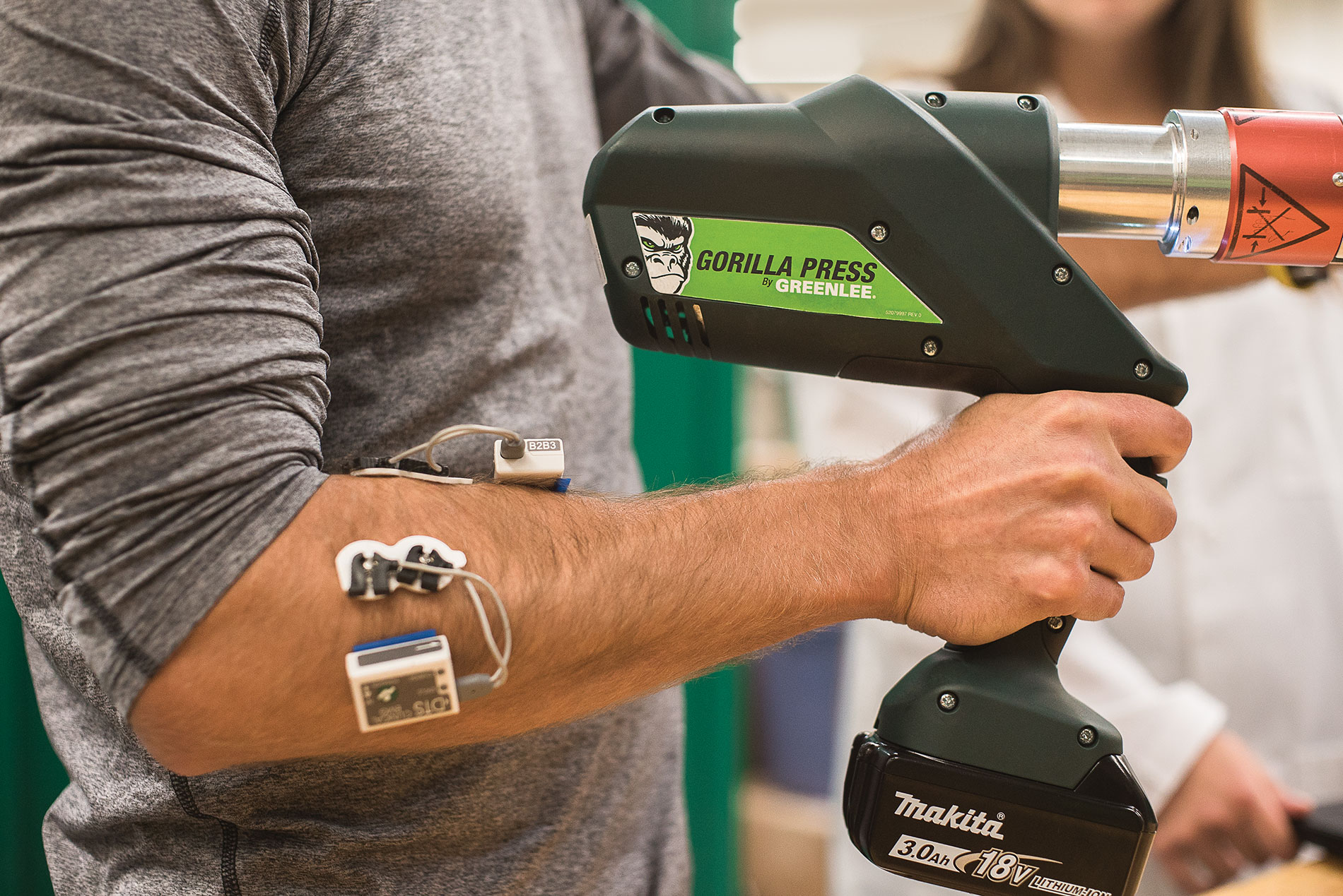 Greenlee's ergonomics lab tests how tool users are affected.