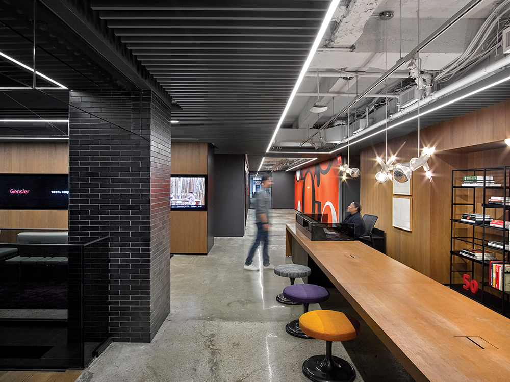 Gensler used  all LEDs in its New York space  to facilitate an IoT office architecture.