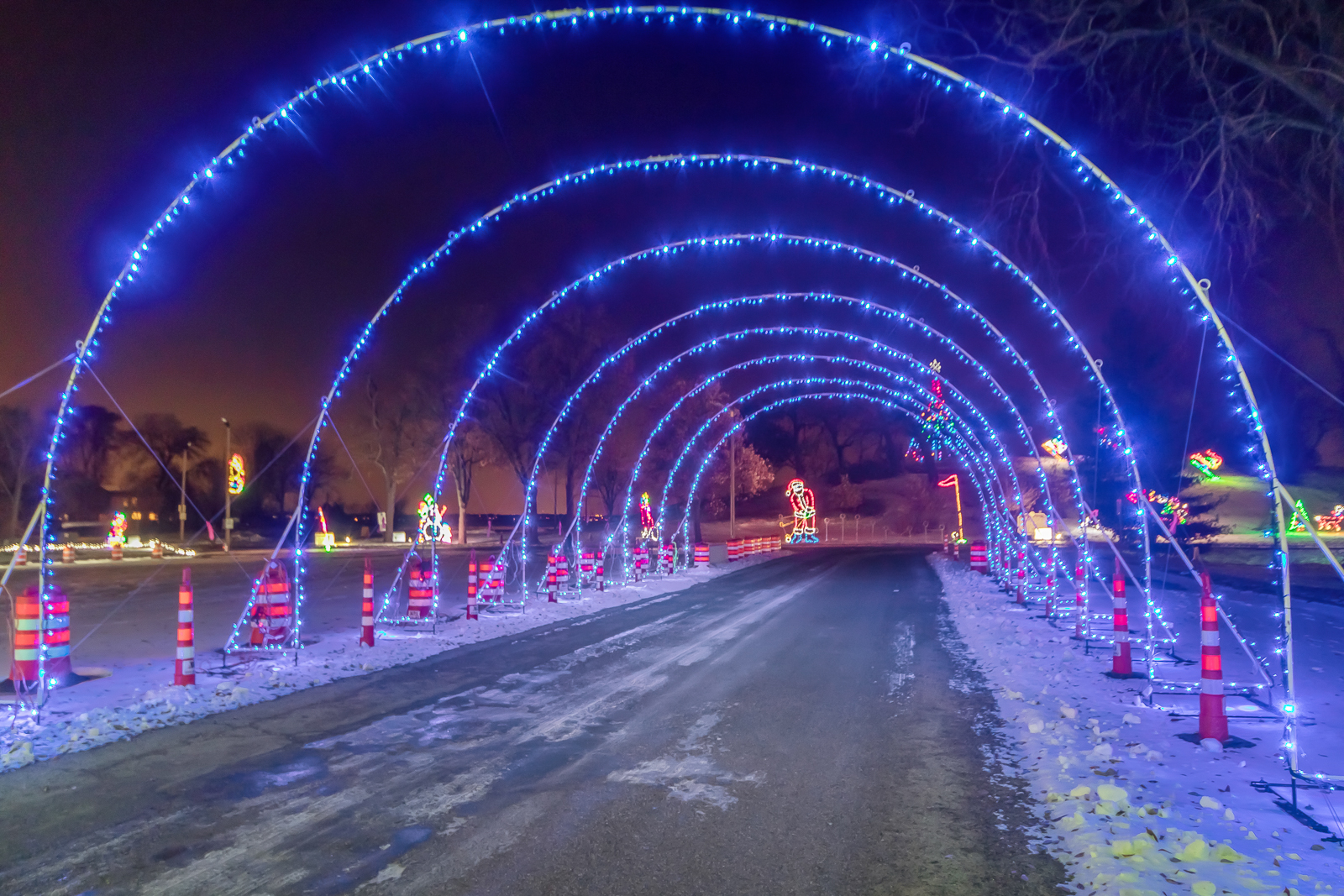 Holiday light arches by Electric Group.