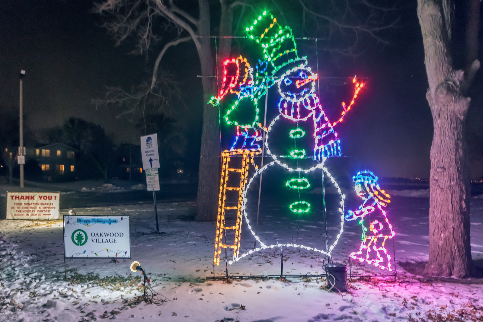 Holiday snowman light display by Electric Group.