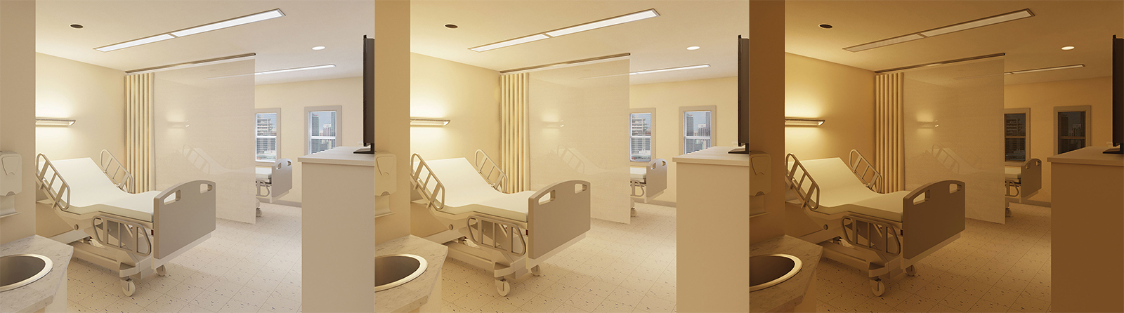Patient room illuminated for optimal circadian entrainment in the morning (left), afternoon (middle) and evening (right)