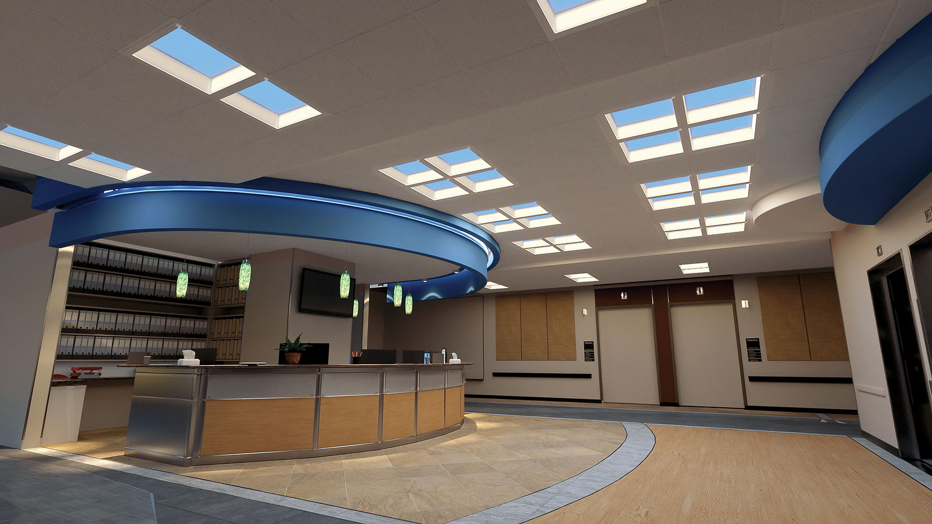 This hospitality-style hospital reception desk is under Cree Cadiant Dynamic LED skylights, which  simulate daylight. According to Cree's Kathryn Caspar, research has found that controlling LEDs to mimic natural light can positively affect the human body.