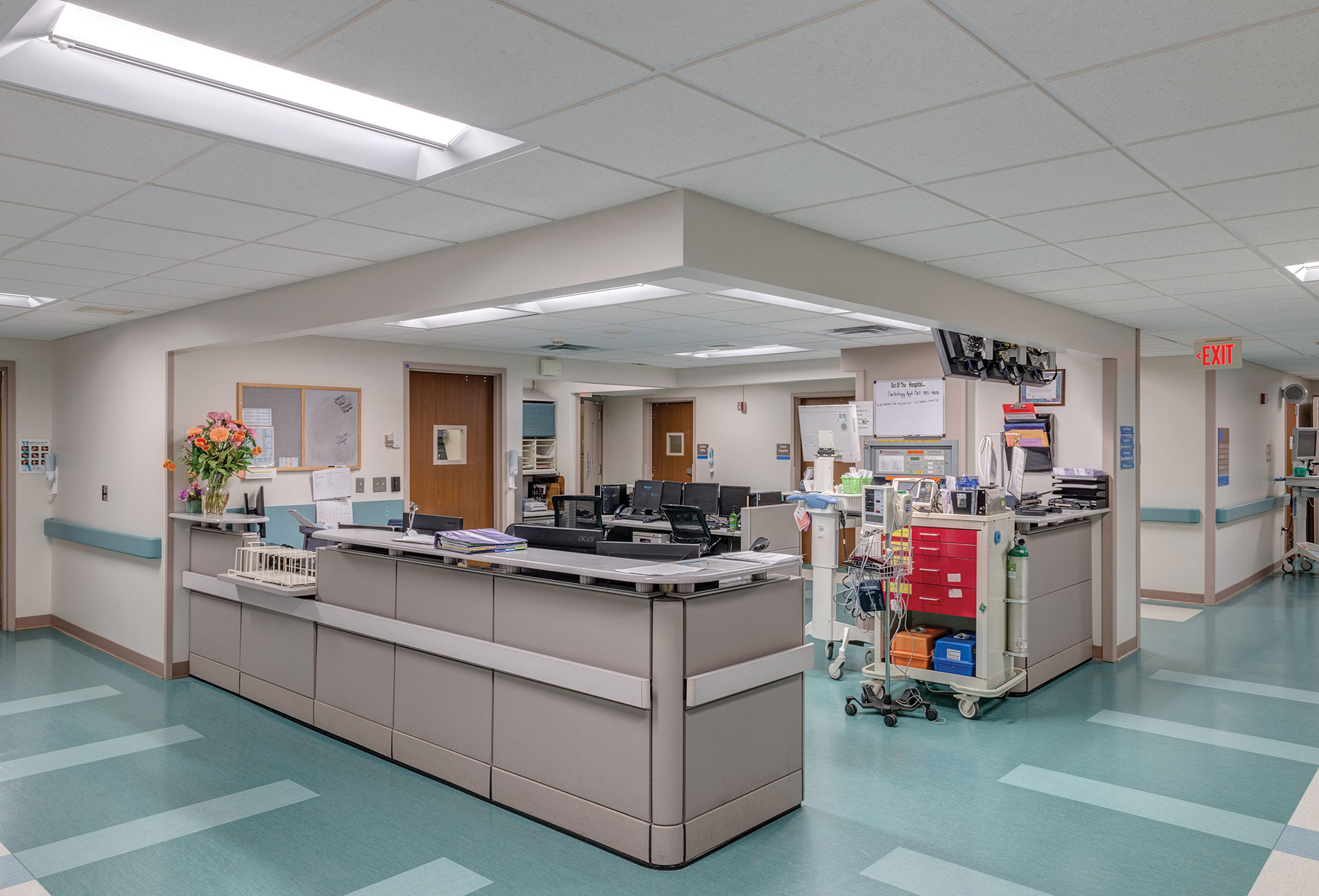 The two goals of lighting design are to provide comfort and calm for patients and keep staff sharp and focused. This nursing station at McLaren Health Care hospital in Port Huron, Mich., displays lighting needed for 24/7 staff productivity.