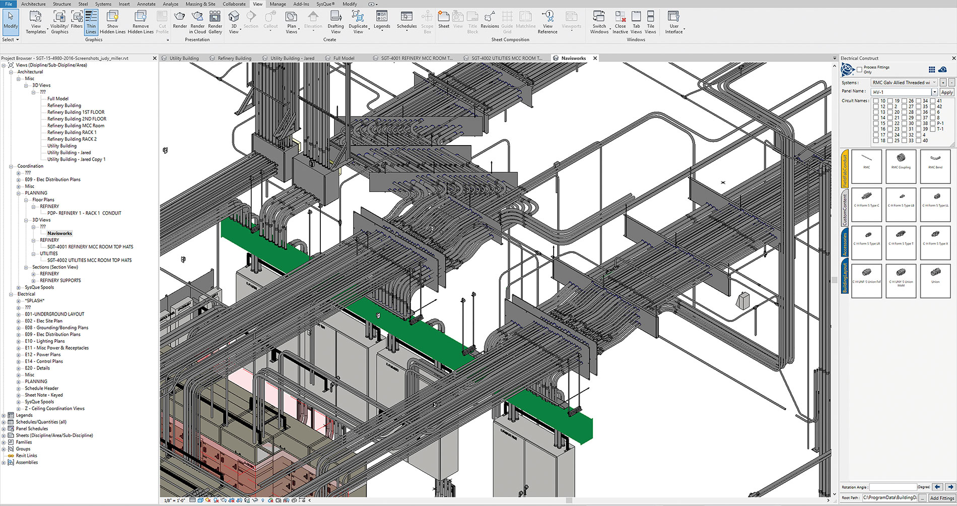 Large conduit runs designed for lighting are rendered in BIM, including fittings and conduit bends.