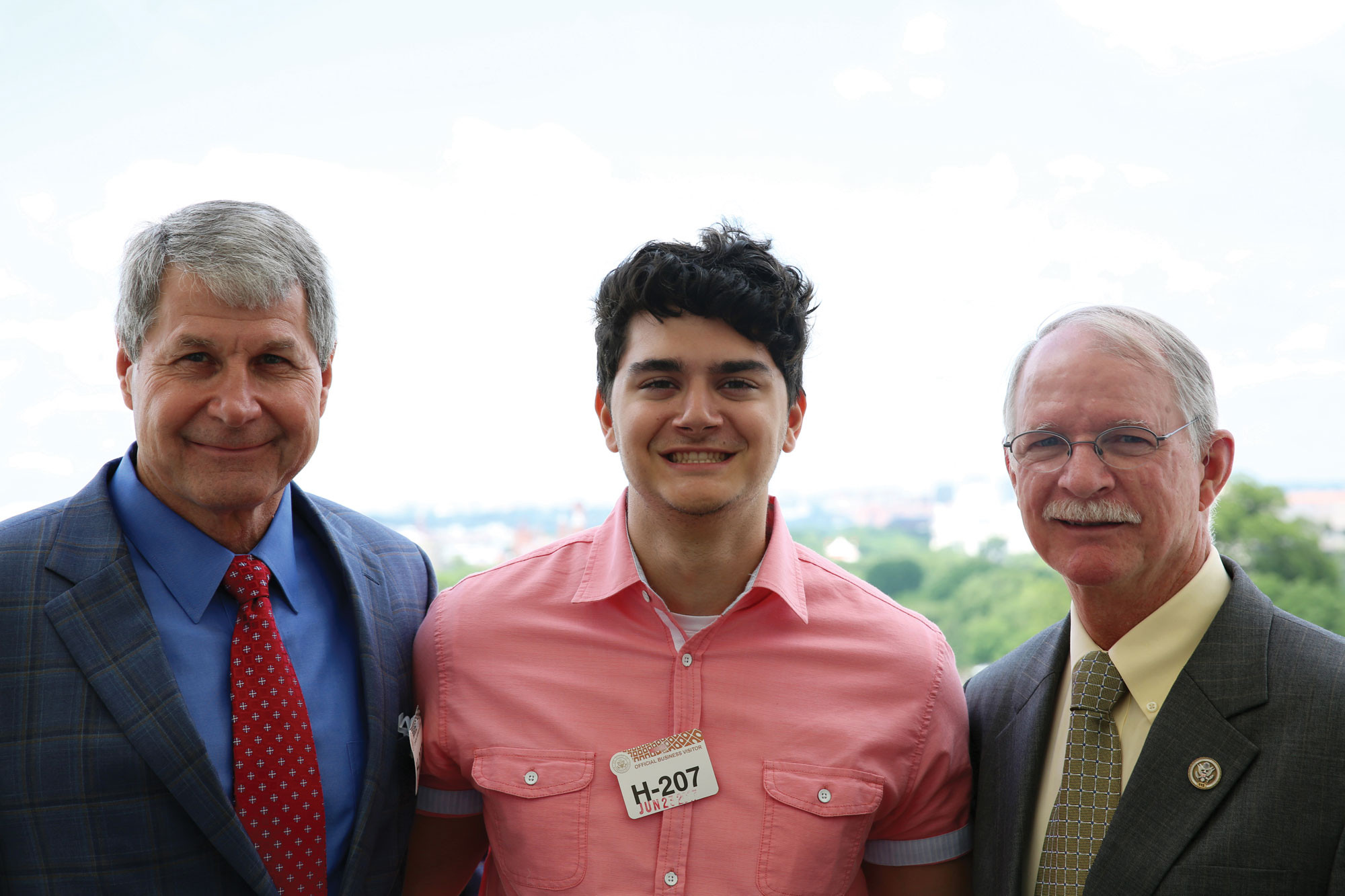 Long, with Dreams Come True recipient Mateo Seslija and Florida Rep.  John Rutherford, after their White House bowling outing.