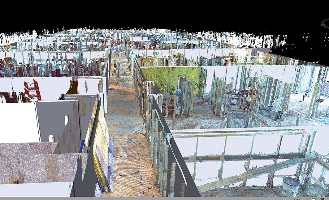 This image shows the point cloud model overlaid on top of GC BIM model and how accurately they integrate.