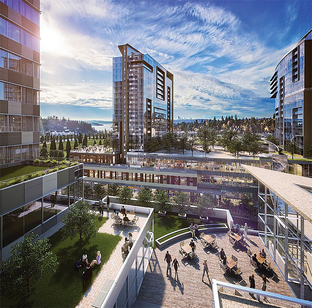 The Lincoln Square Expansion is a 1.5-million-square-foot mixed-use project in Bellevue, Wa. Rendering courtesy of Neoscape.