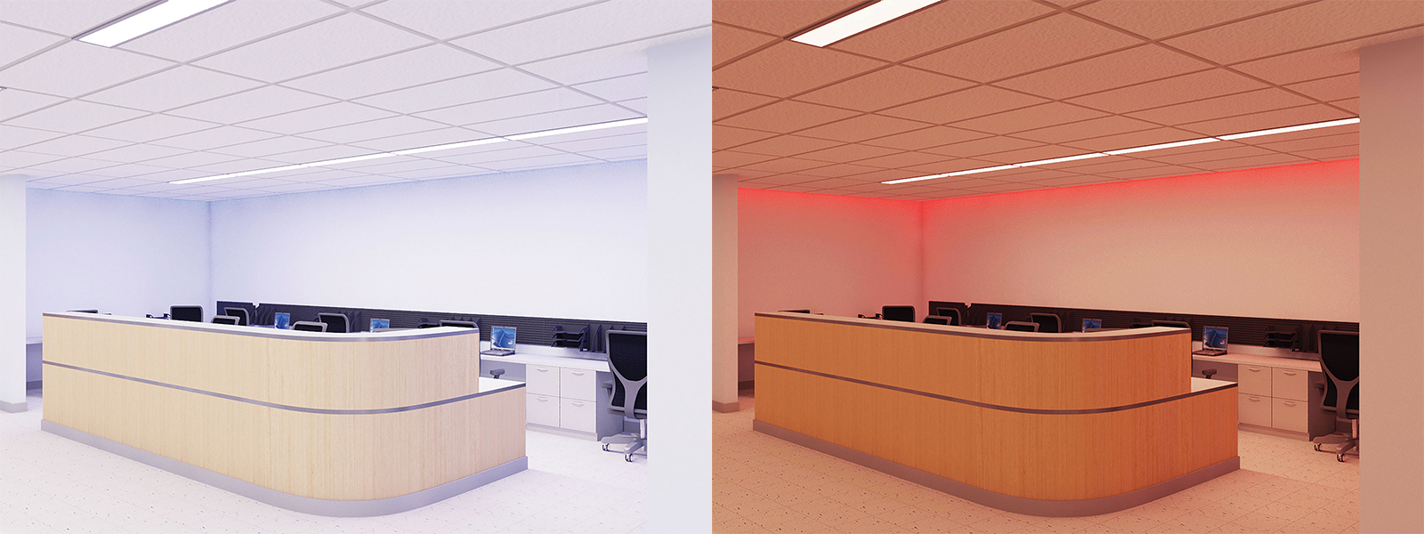 This nurse's station is illuminated for optimal circadian entrainment in the morning (left) and night (right), in this scenario using color-tunable lighting.