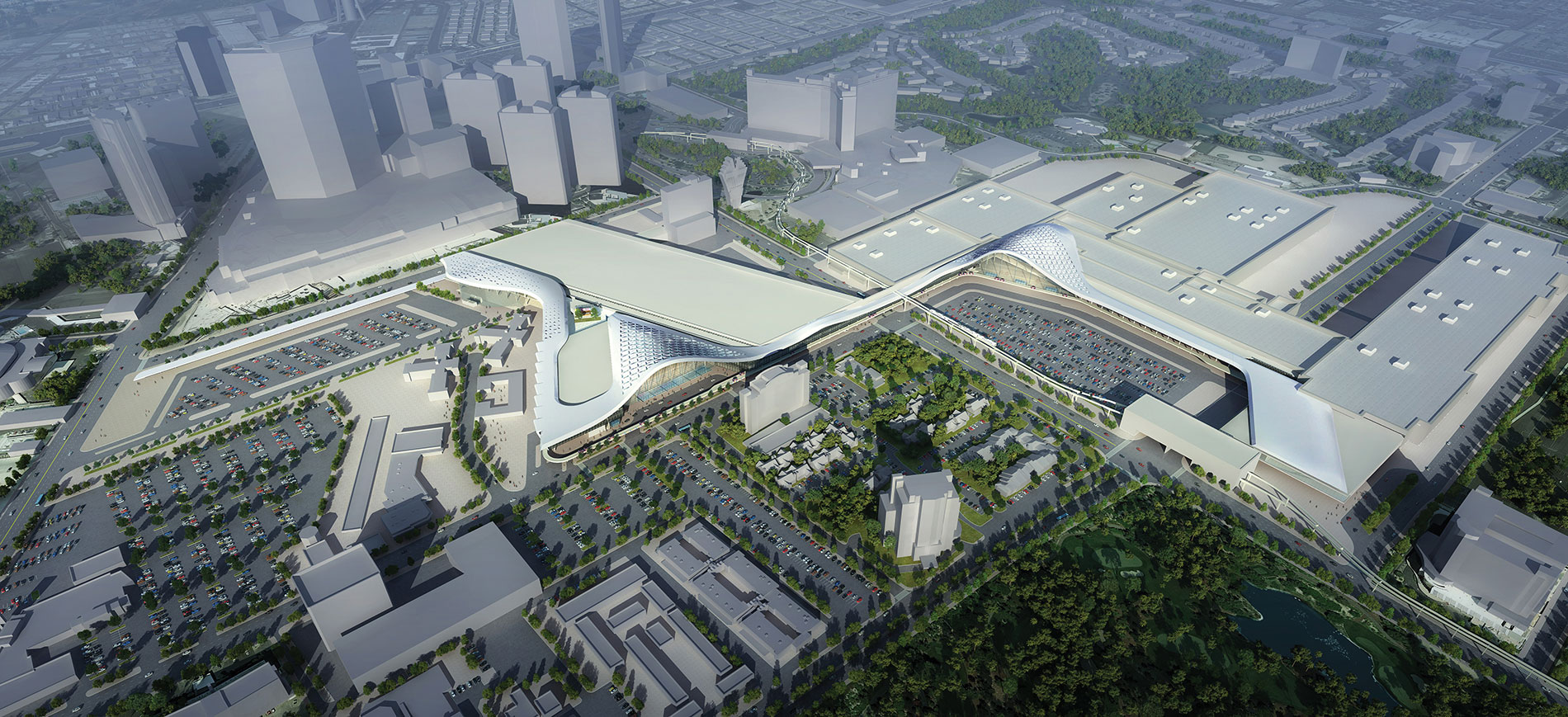 A bird's-eye view rendering of Las Vegas Convention Center expansion and renovation. Image Credit: TVSDesign