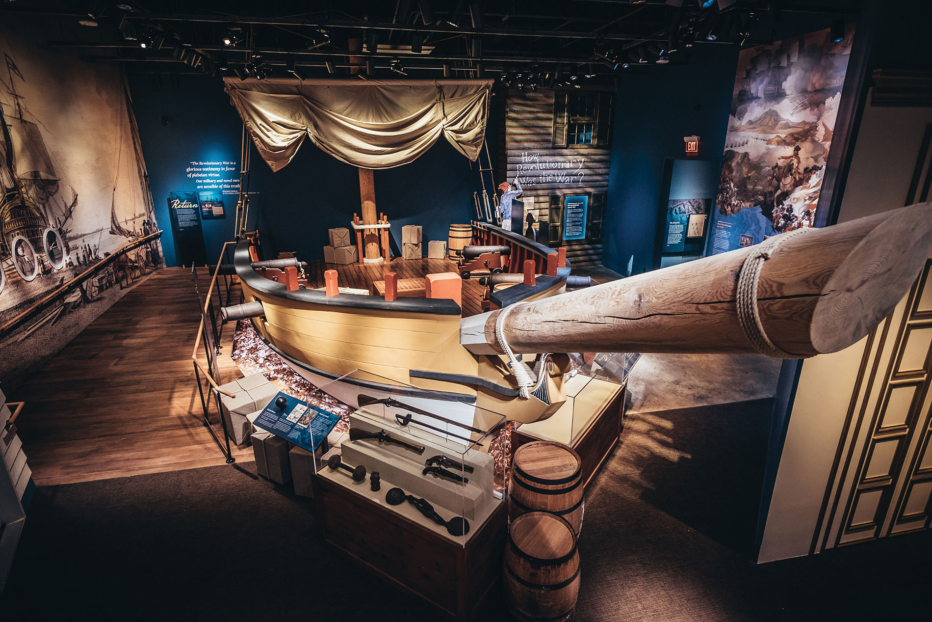 Visitors can do hands-on activities on this life-size replica privateer ship. Photo courtesy of the Museum of the American Revolution.