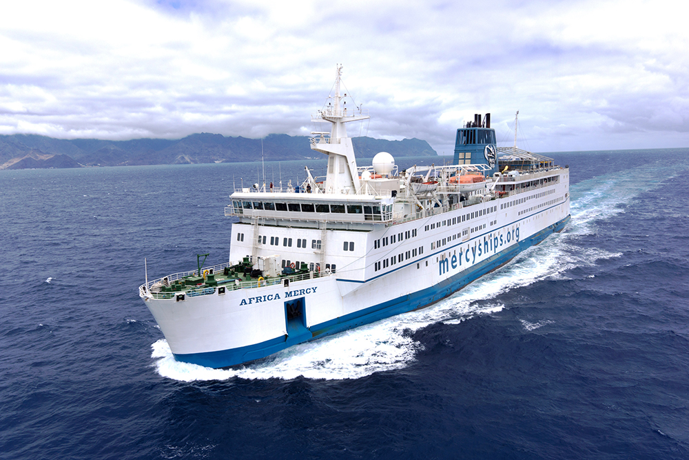 The Africa Mercy is the world's largest private hospital ship staffed by 400 Mercy Ships volunteers from 40 nations. ©Mercy Ships