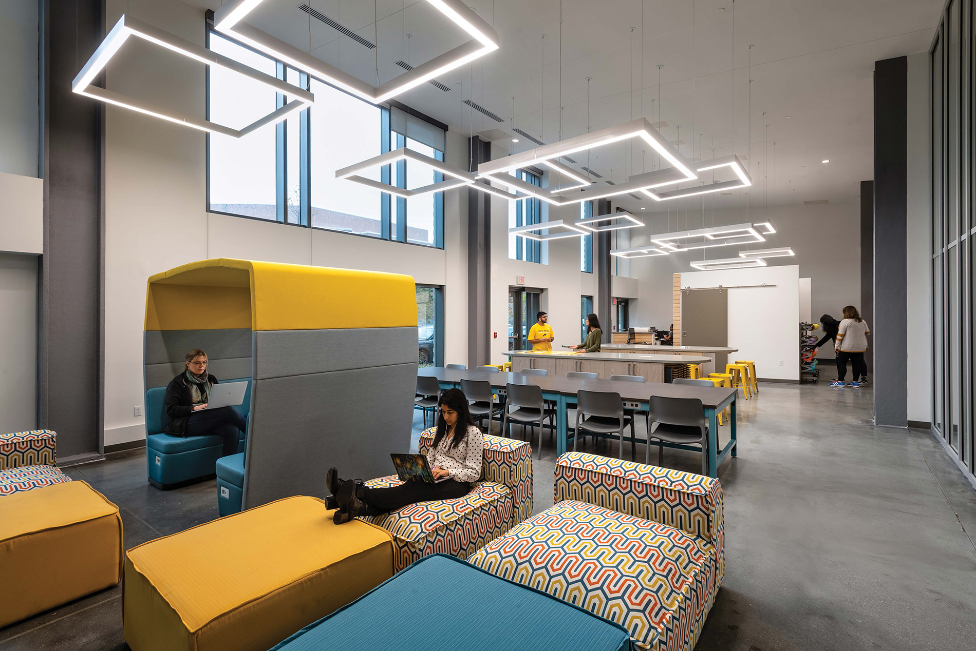 The building's natural light and colorful artwork make the GRC uniquely VCU. Image credit: Chewning + Wilmer