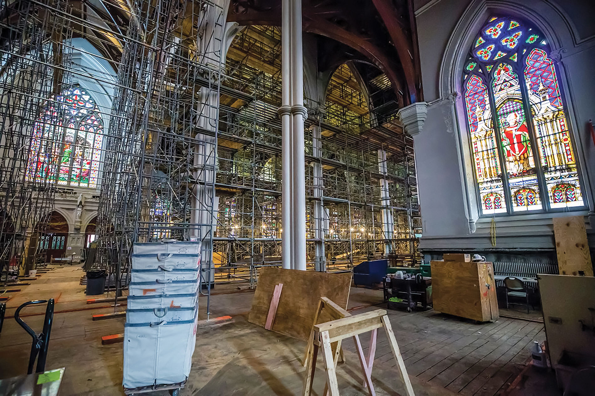 Scaffolding crisscrossed the entire cathedral interior. | McDonald Electrical Corp.