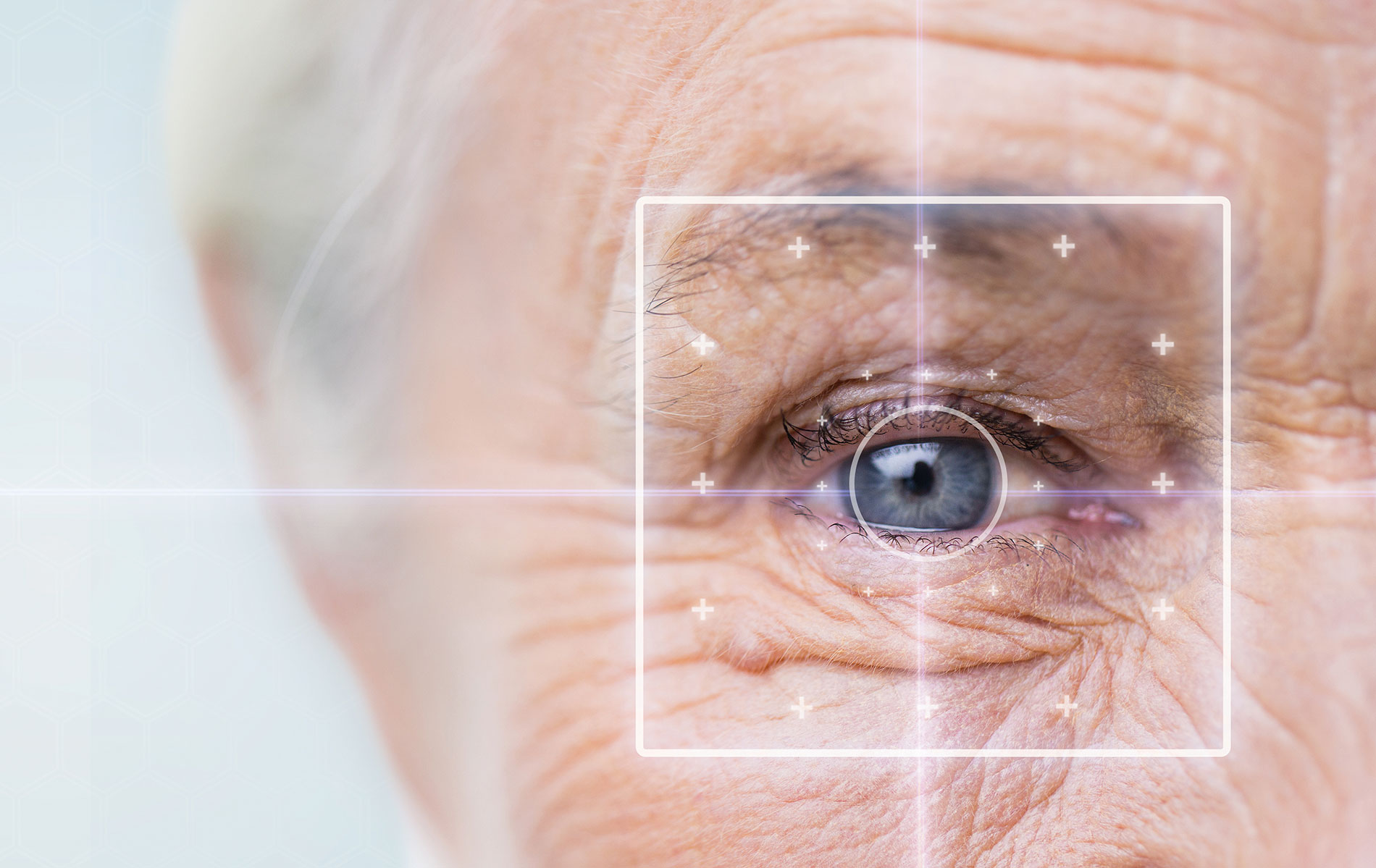Close-up of an eye of an older person, with a box around the eye