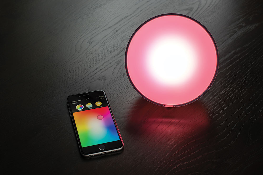 Philips' Hue smart home light is controlled by a smartphone app.