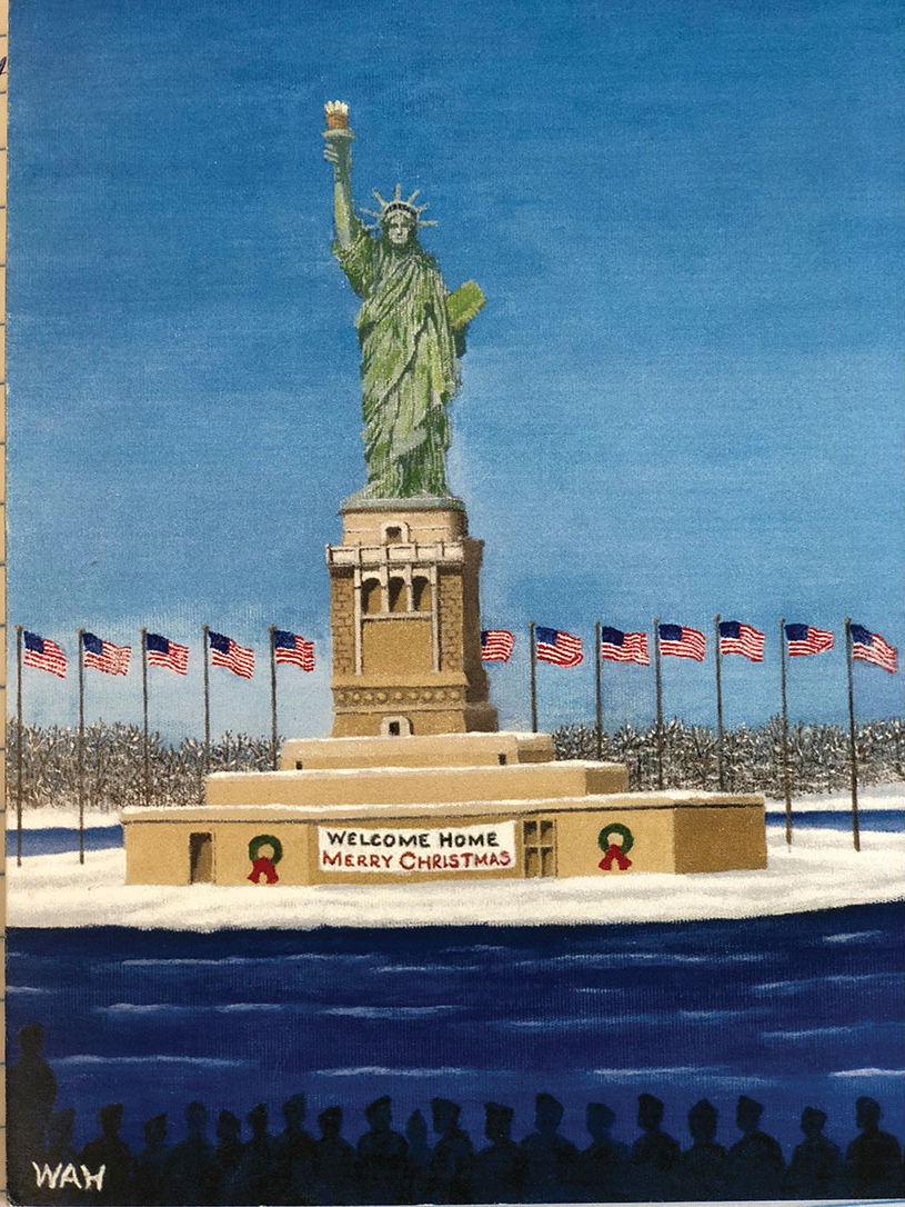 Painting by Bill Hartmann Sr., based on a photo he took in December 1945, returning from the war in Europe.