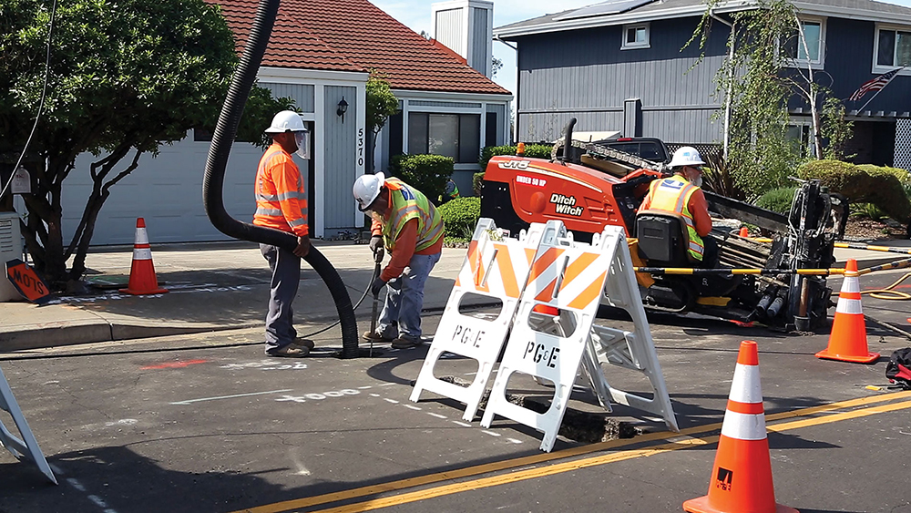 Compact directional drilling equipment can bore under streets, lawns and other surface obstacles.