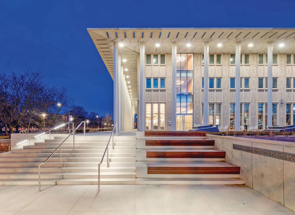 The renovated University of Chicago Keller Center is home to the Harris School of Public Policy was submitted for LEED Platinum certification and the Living Building Challenge Petal Certification.