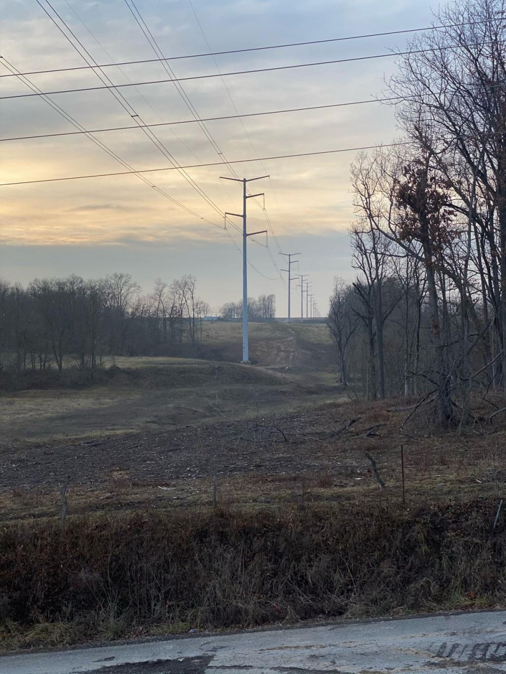Monopole transmission towers along the Illinois Rivers Project | Photo courtesy of Ameren