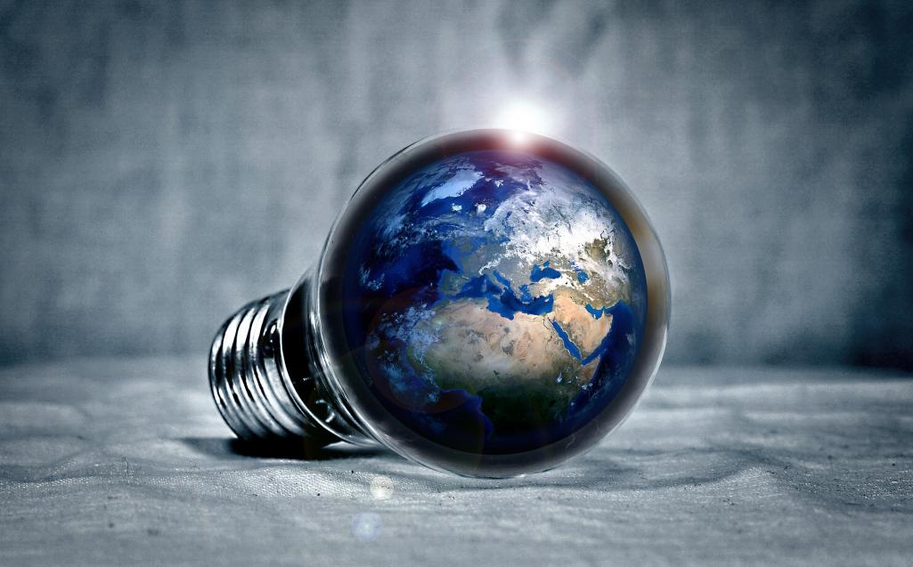 Earth in a light bulb