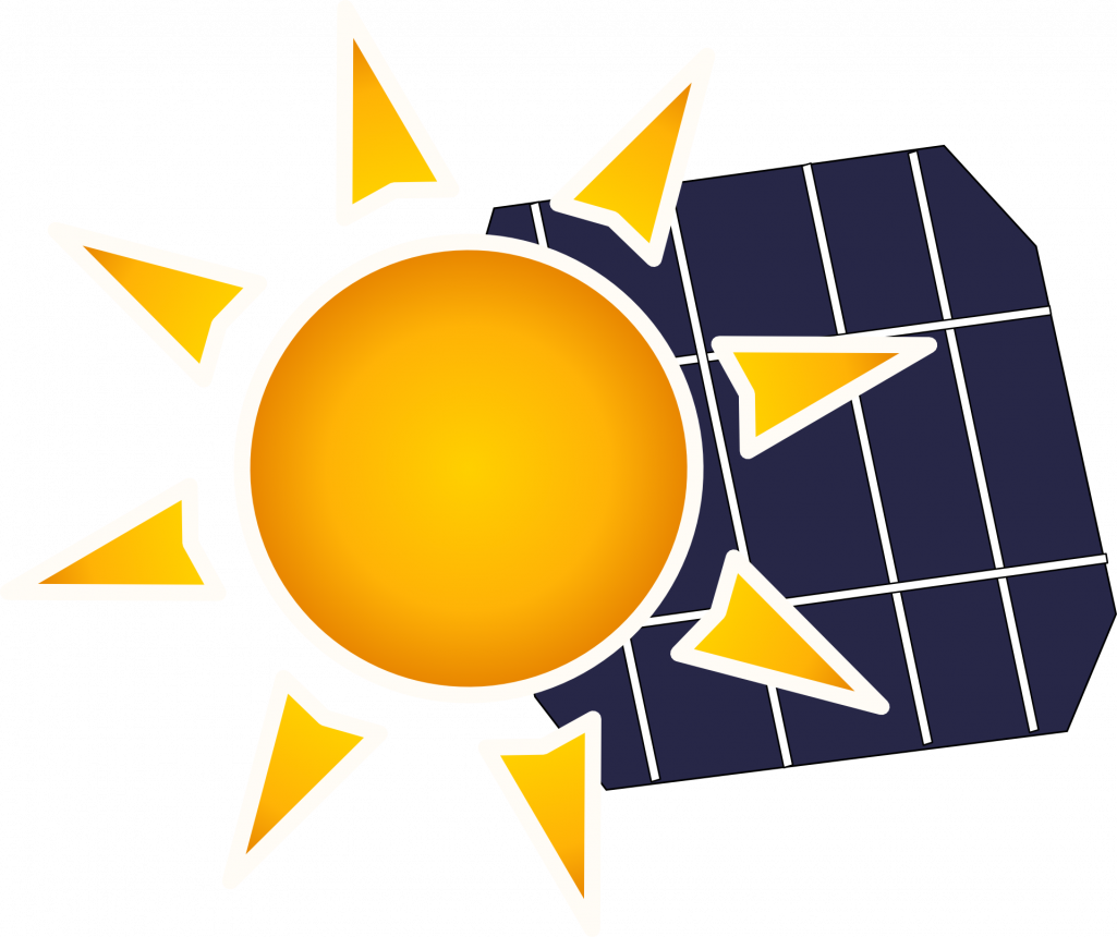 Illustration of a sun over a photovoltaic solar panel