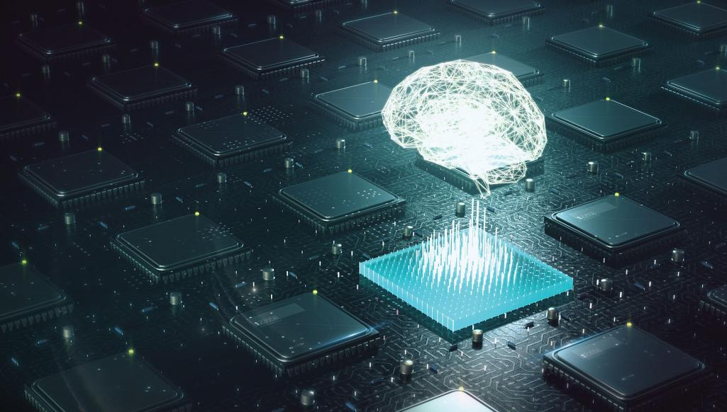 Brain floating above a CPU