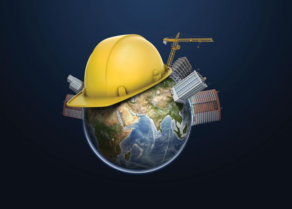 globe with construction hat
