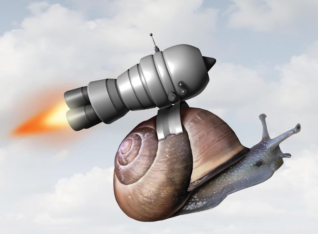 A snail accelerating with a small rocket.