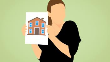 An illustration of a woman holding up a housing photo.