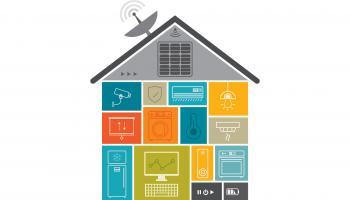 Illustration: a house made of icons featuring technology for the home like lights, security cameras, a fridge, etc.