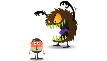 Cartoon of a brown, fuzzy monster baring its teeth and looming over a frightened man. Shutterstock / Malchev / SCC.Comics