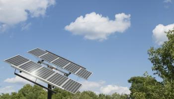 A solar panel on Penn State's University Park campus. Credit Patrick Mansell