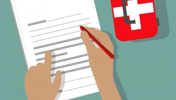 Illustration of a person's hands & arms filling out a form, next to a first-aid kit | Shutterstock / Pixsooz