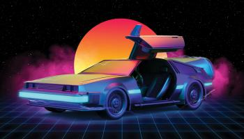 Delorian with an open door, set against a setting sun | Shutterstock / Thiago Melo