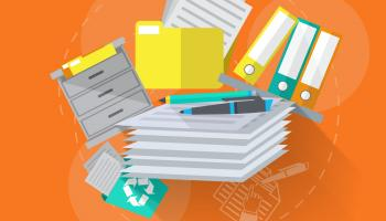 Illustration of paperwork, filing cabinets, binders, etc.