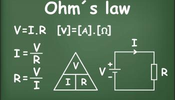 Ohm's law on a chalkboard