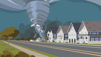 Illustration of a tornado ripping through houses