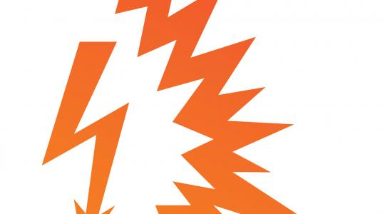 An arrow shaped like a lightning bolt next to an illustration of an arc flash
